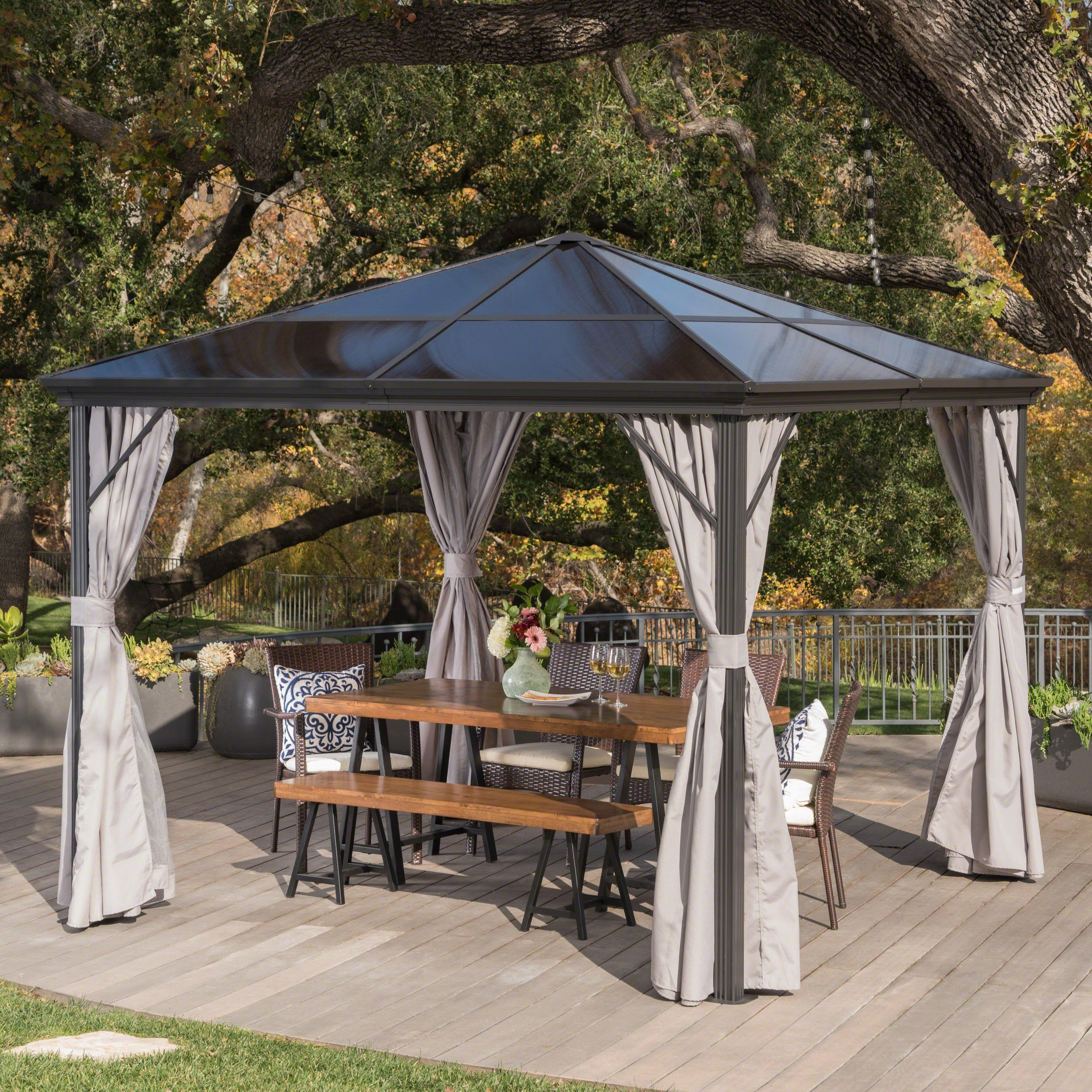 Bali Outdoor 10 X 10 Foot Rust Proof Aluminum Framed Hardtop Gazebo With Curtains With Images Hardtop Gazebo Gazebo