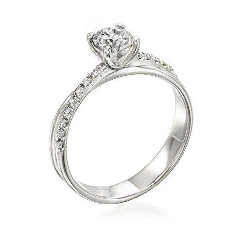 Solitaire Diamond Ring 1/2 ct, I Color, VS2 Clarity, Certified, Round Cut, in 14K Gold / White - http://www.sofiasluxuryjewelry.com/jewelry/wedding-anniversary/engagement-rings/solitaire-diamond-ring-12-ct-i-color-vs2-clarity-certified-round-cut-in-14k-gold-white-com/