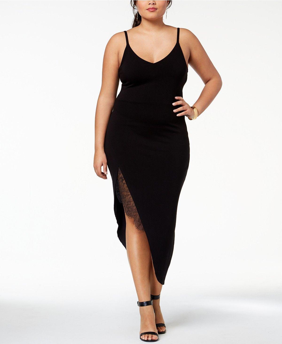Soprano Trendy Plus Size Lace-Trim Slip Dress - Dresses ...