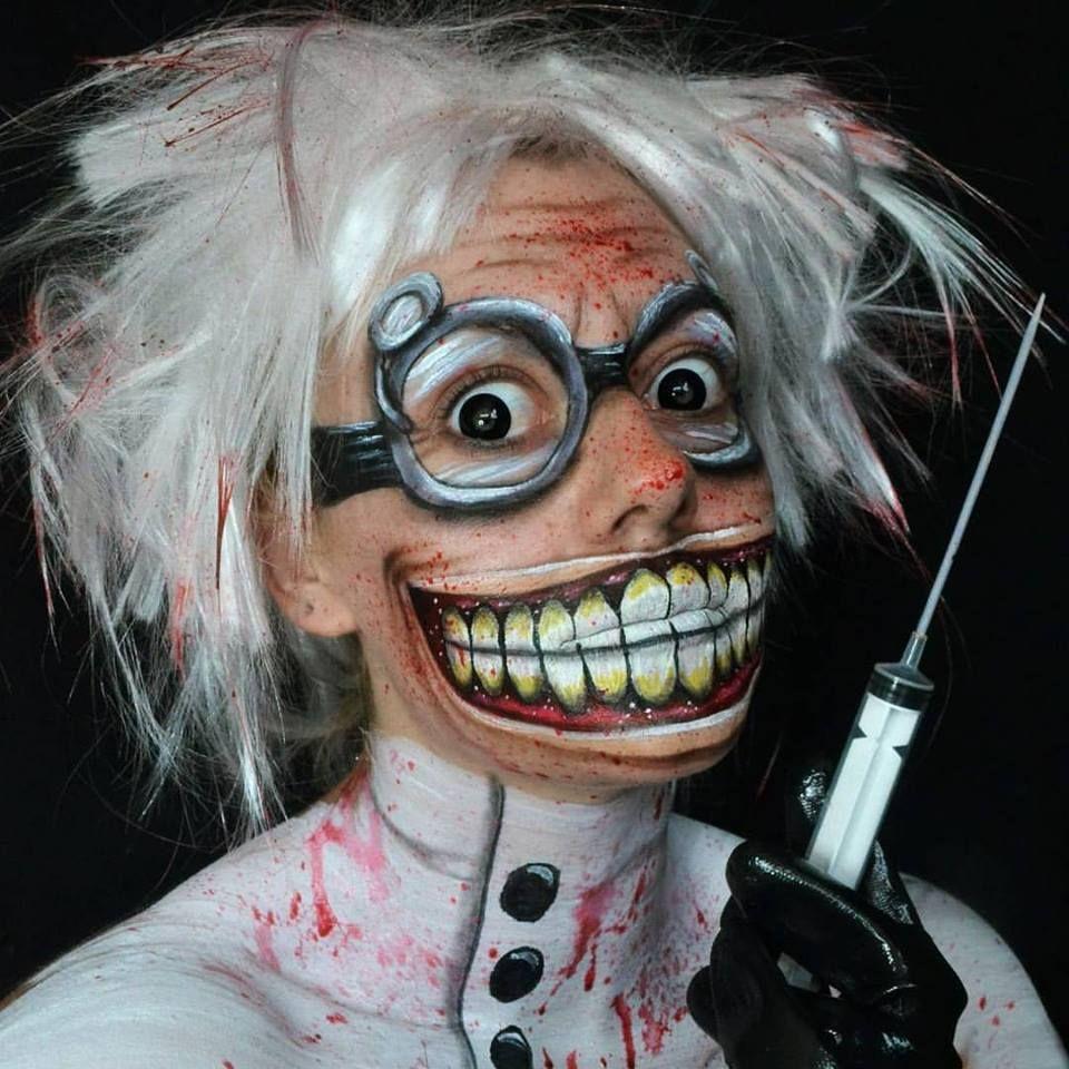 deranged mad scientist halloween makeup facepaint | halloween make
