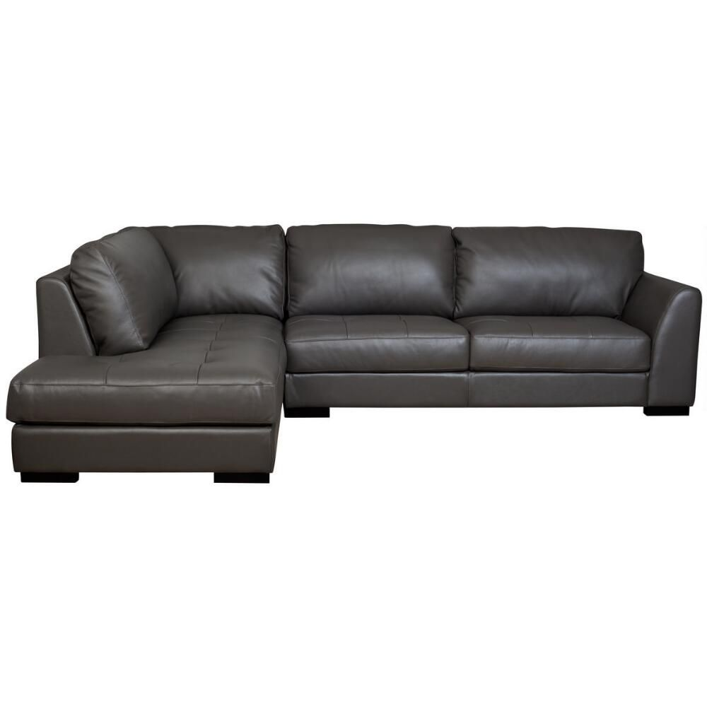 Boone Leather Sofa Chaise Grey