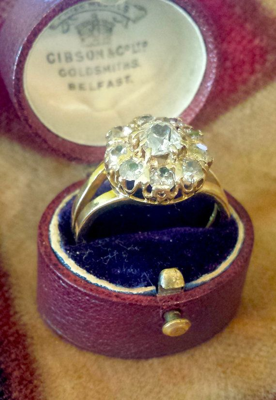 Old Mine Cut Diamond Ring Cluster in 14k Gold by PassItOnLTD