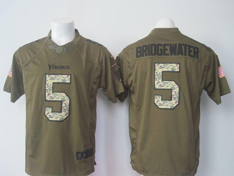 nike minnesota vikings 5 teddy bridgewater army green salute to service limited jersey
