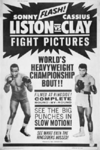 Cassius clay sonny liston fight poster standup 4inx6in black and white