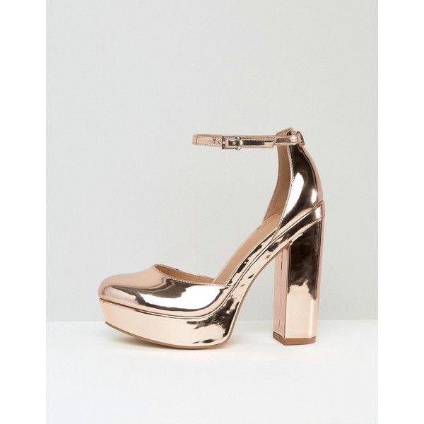 ASOS PARODY Block High Heels ($67) ❤ liked on Polyvore featuring shoes, pumps, block-heel pumps, high heeled footwear, asos shoes, metallic shoes and block heel pumps