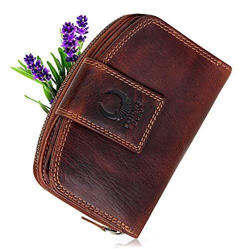 ff2e32154759d8 Geldbörse Damen Leder mit RFID Schutz kompaktes Portemonnaie Portmonee  Vintage Geldbeutel Kreditkartenetui lang mit Reißverschluss in