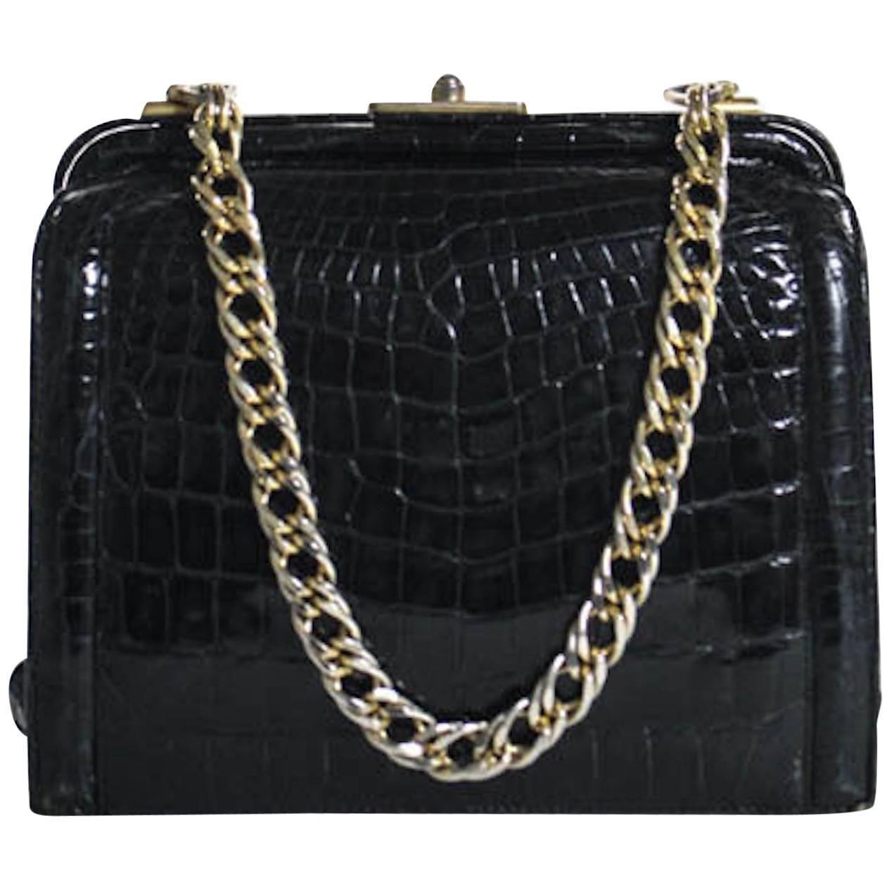 fafc59b38 Vintage Black Leather Crocodile Leather Kisslock Evening Flap Shoulder Bag