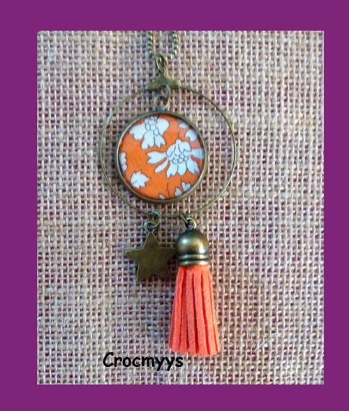 Sautoir rétro liberty capel orange : Collier par crocmyys