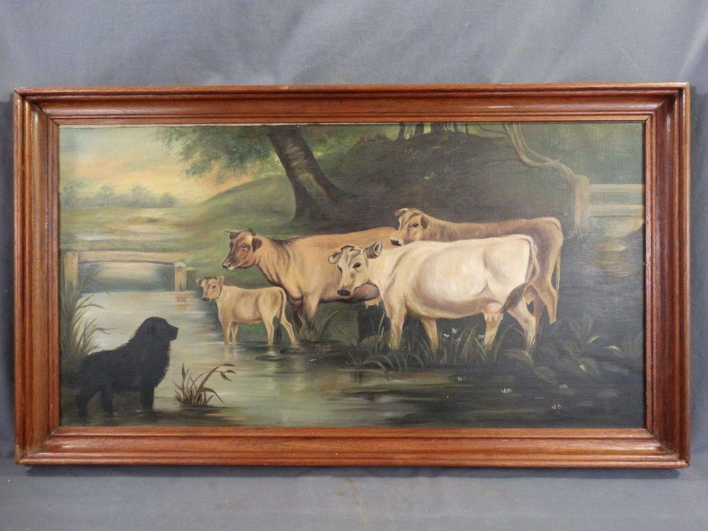 Antique Primitive Folk Art Farm Dog Cows Old Cattle In Stream Oil Painting Antique Folk Art Primitive Cow Painting Antique Folk Art