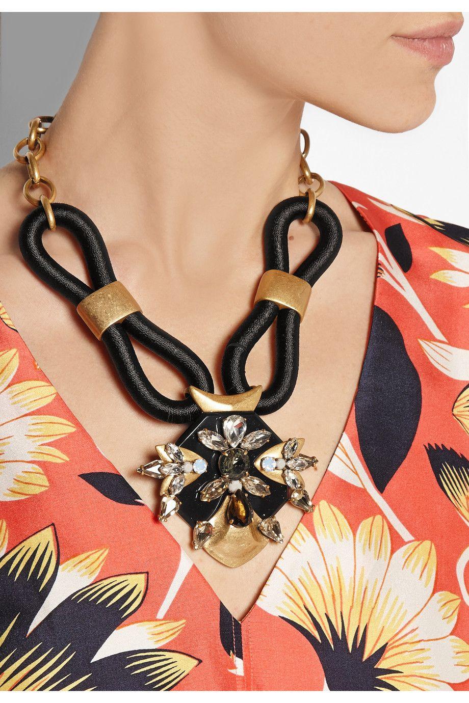 Jcrew corded goldtone crystal necklace netaportercom