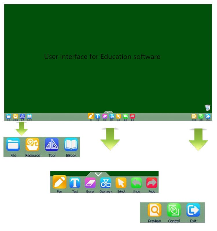 Built-in education software Large size 92 inch interactive