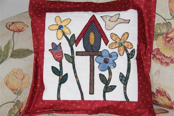 Handmade appliqué pillow cover country pillow cushion etsy