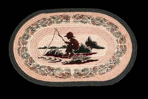 """HAND PRINTED FISHING BOY RUG - This rug has been hand printed with as many as ten different colours! Detailed images with unparalleled shading and colour sets the standard for this beautiful rug. 20"""" x 30"""""""