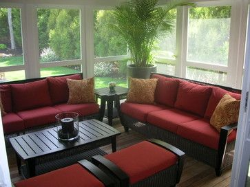 Screened Porch Furniture Layout | Covered Patio   East Hampton, New York  Modern Porch