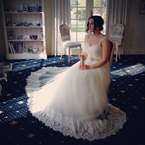 lace gown with beaded belt  princess style wedding