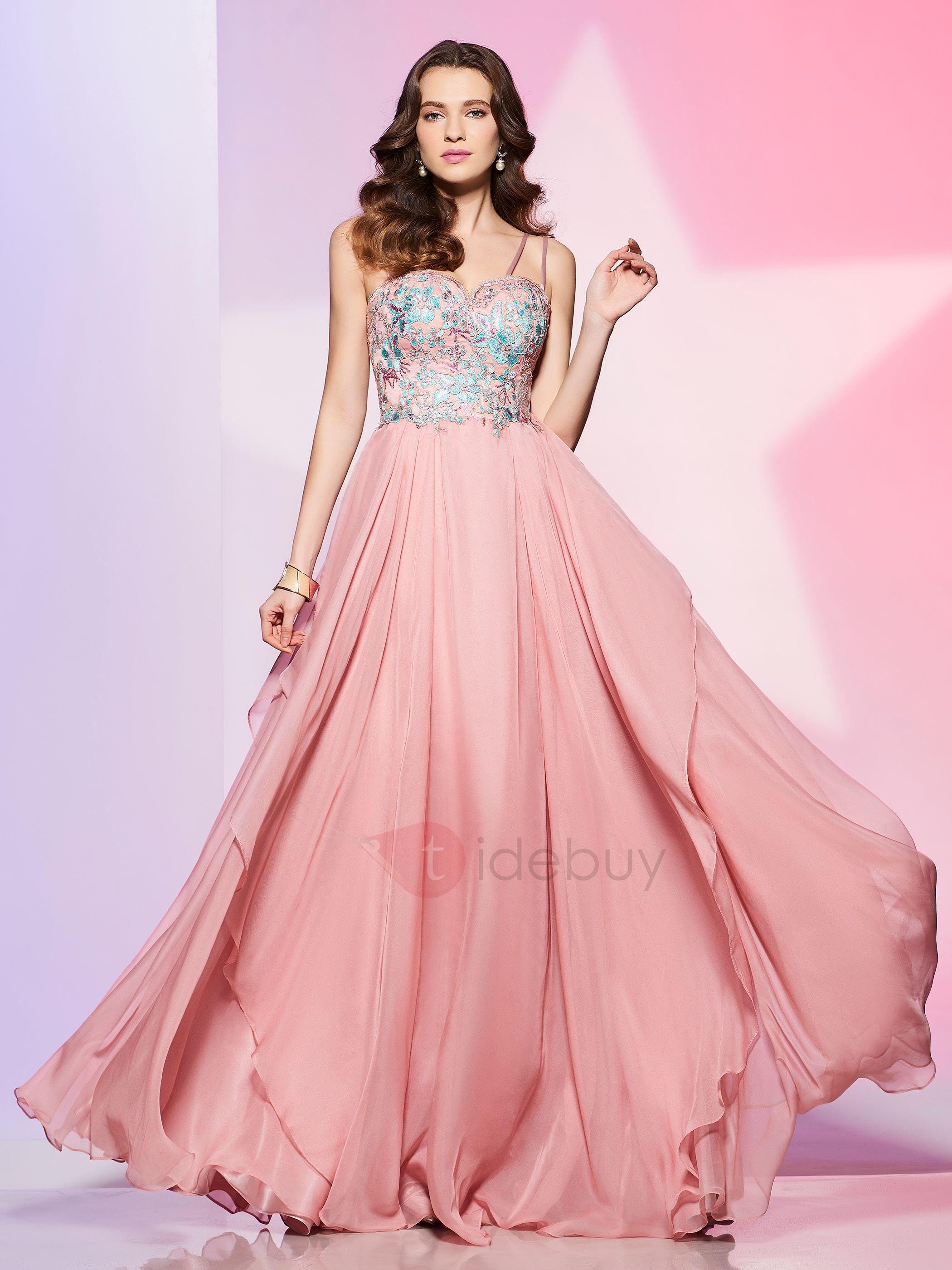 Vestido de baile A línea de correas espaguetis | vestidos ...