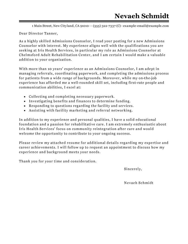 Examples Of Cover Letters Generally Admissions Recruiter Cover Letter Images  Resume Examples