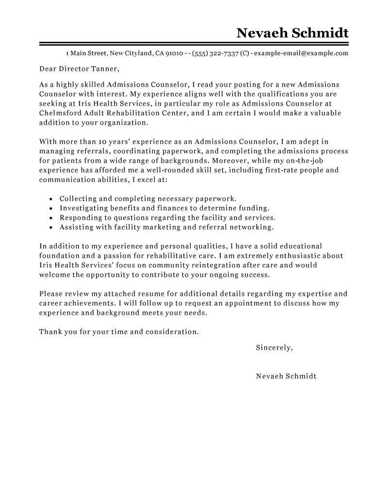 admissions recruiter sample resume