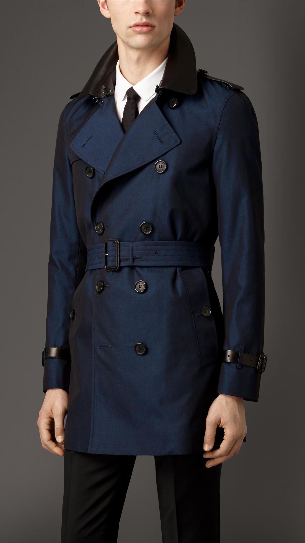 28d4807e0c792 Leather Detail Cotton Gabardine Trench Coat