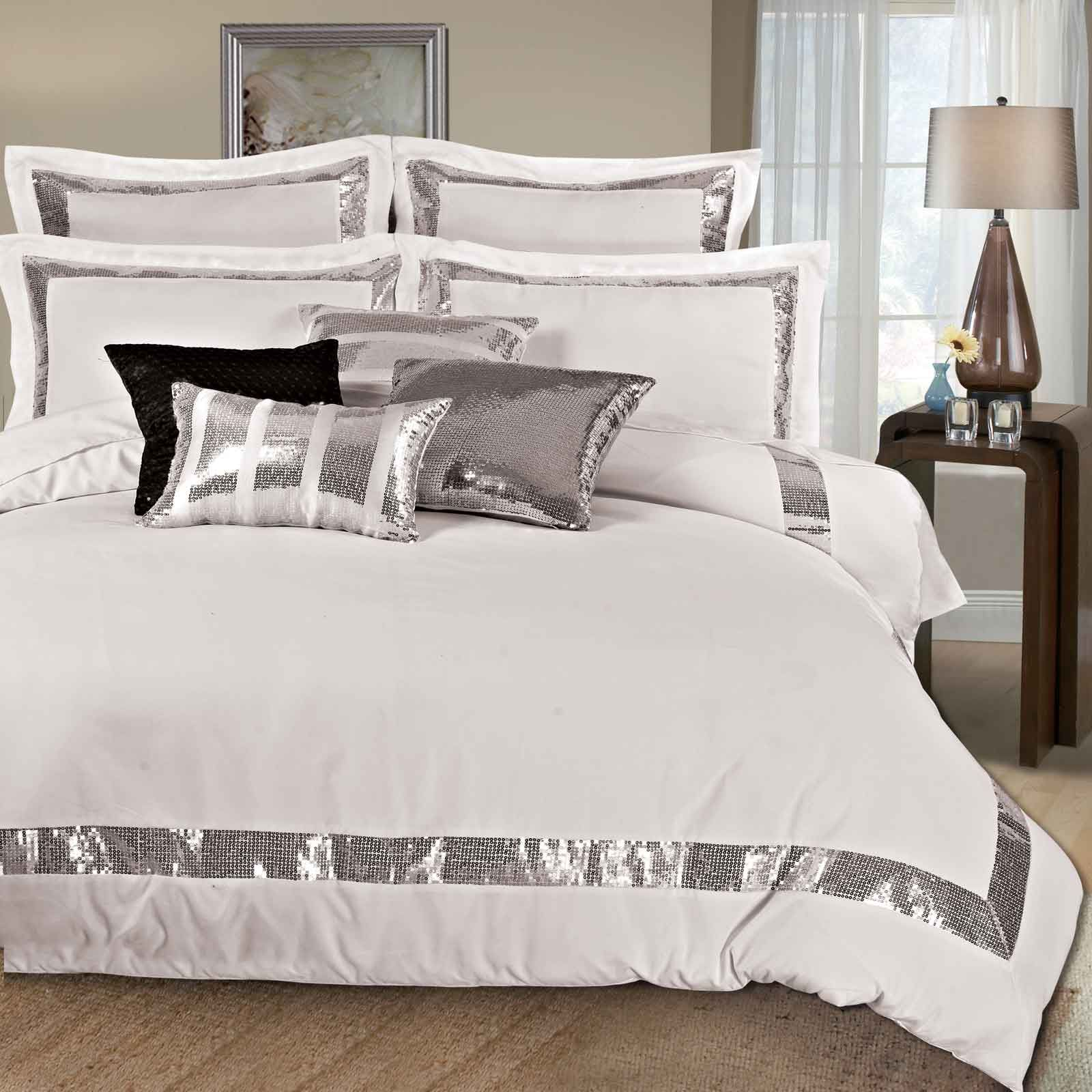 Sequins Queen King Size Duvet Quilt Cover Set 3pcs Bed Linen Bedding