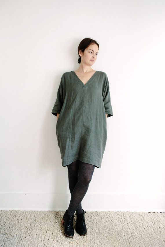 CONTACTED** OPTION 1* MADE IN BC Olive Washed Linen V-neck Dress F/W16 by korinnevaderhandmade