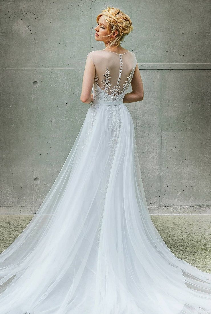 A playful skirt with illusion front and back wedding dress  | fabmood.com #weddingdress #weddinggown #bridalgown #bridaldress #weddingdresses #wedding #bride