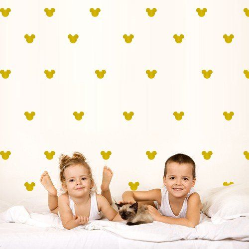2x1.6 Set of 150 Mickey Mouse Head Gold Inspired Ears Polka Dots Wall Art M1640
