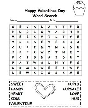 Valentine S Day Word Search 2nd Grade Free Freebie First Stuff