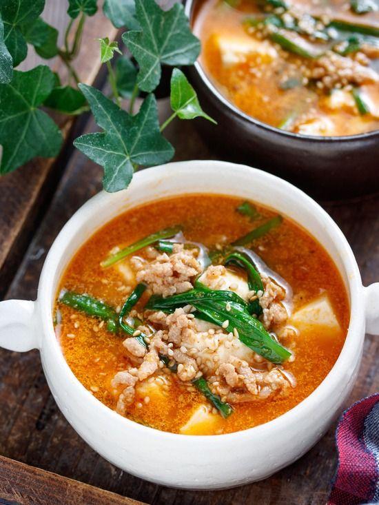 豆腐とひき肉のうま辛♡スタミナ味噌スープ【#簡単 #節約 #時短 #包丁不要 #スープ #おかずスープ】 : 作り置き&スピードおかず de おうちバル 〜yuu's stylish bar〜