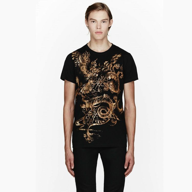 741fa91a Gold Dragon and Phoenix Print Tshirt | Men's | Gold dragon, Gold, T ...