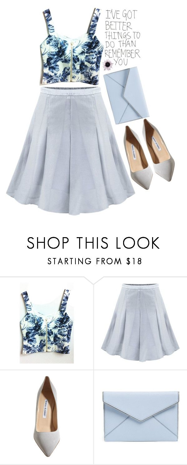 """""""Midi skirt"""" by mihreta-m ❤ liked on Polyvore featuring Manolo Blahnik and Rebecca Minkoff"""