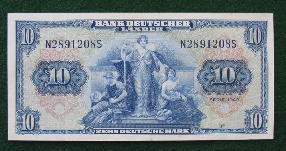 1949 10 Deutsch Marks Note Zehn Deutsche Mark Lightly Circulated Bank Notes Banknote Collection World Coins