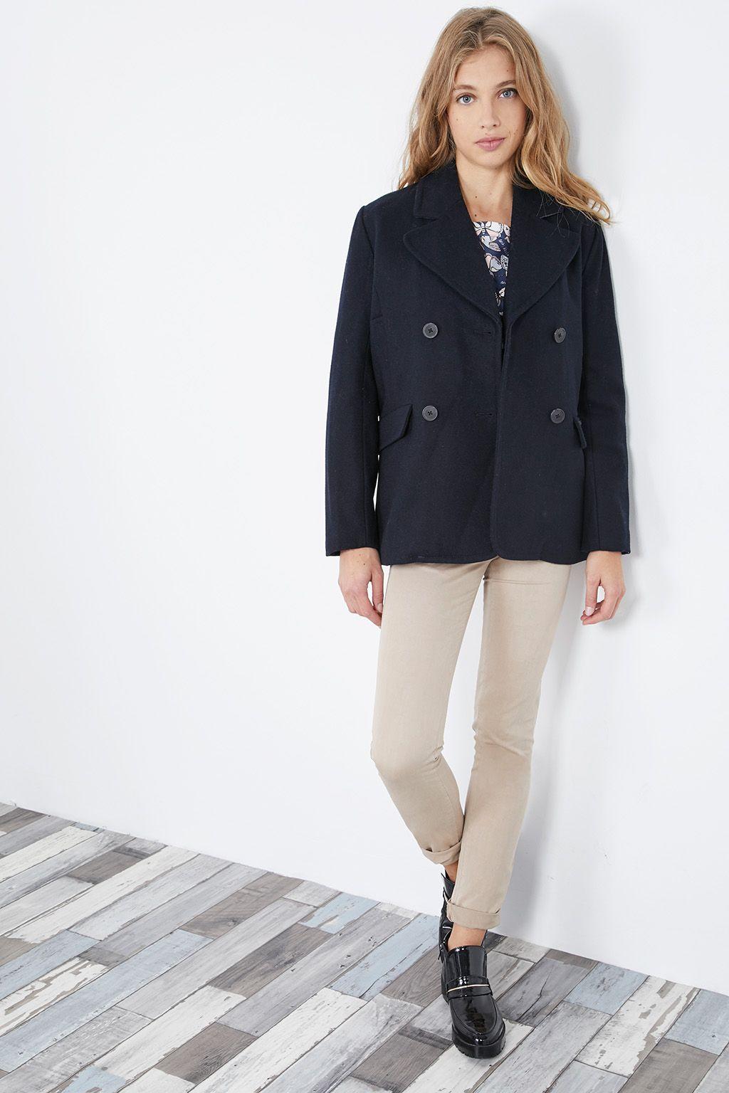 Venda Pepe Jeans / 28240 / Mulher / Casacos, sobretudos e blusões / Casaco cabã de lã Azul-marinho