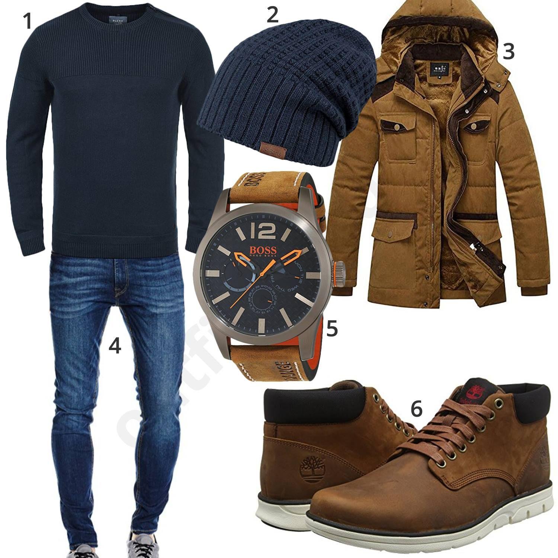 Dunkelblauer Style mit brauner Jacke und Stiefeln (mit