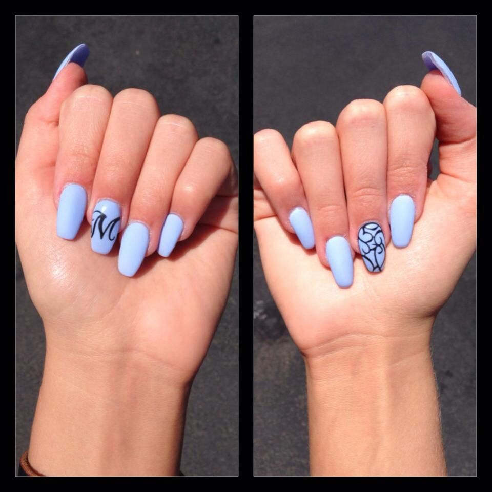 Coffin nails ballerina nail style blue sky blue baby blue classic coffin nails ballerina nail style blue sky blue baby blue classic plain nail art simple easy prinsesfo Gallery
