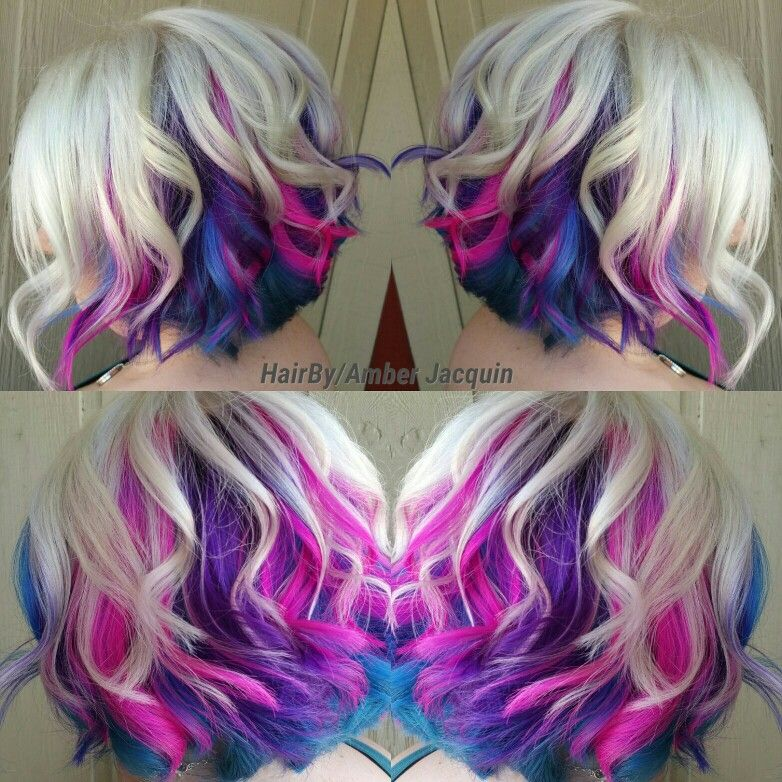 Icy Blonde With Pink Purple And Blue Peekaboos Hair By Amber