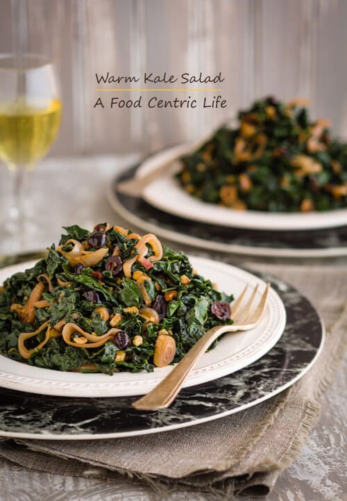 Warm Kale Salad with Cranberries and Walnuts via @chefsallycam