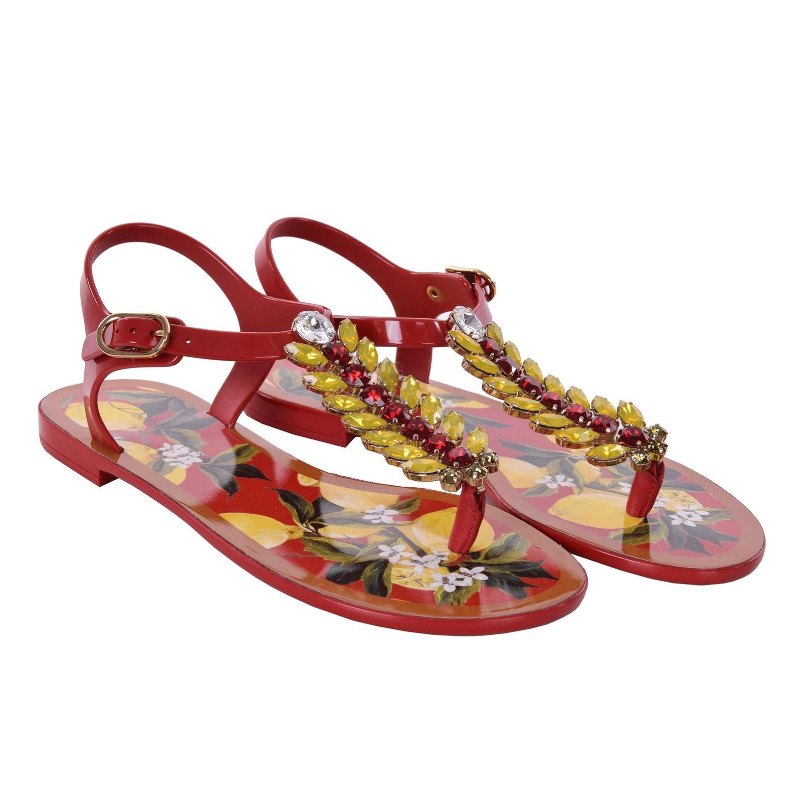48ae511db1fe DOLCE   GABBANA Sicily Lemon Strap Crystals Sandals Shoes INFRADITO Red  06748