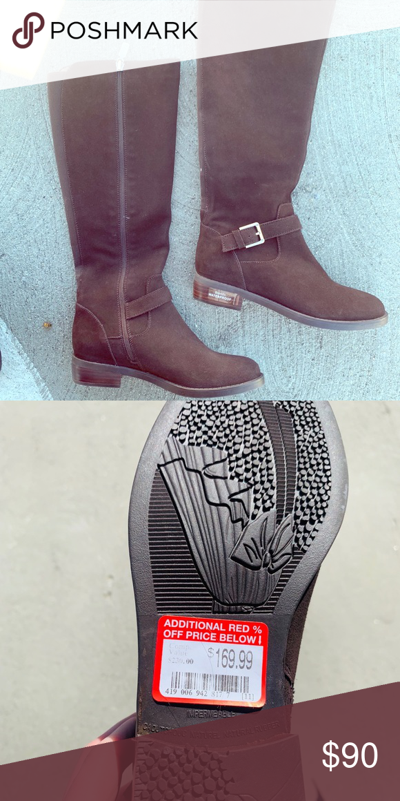 Blonde Enzo suede boots brown water