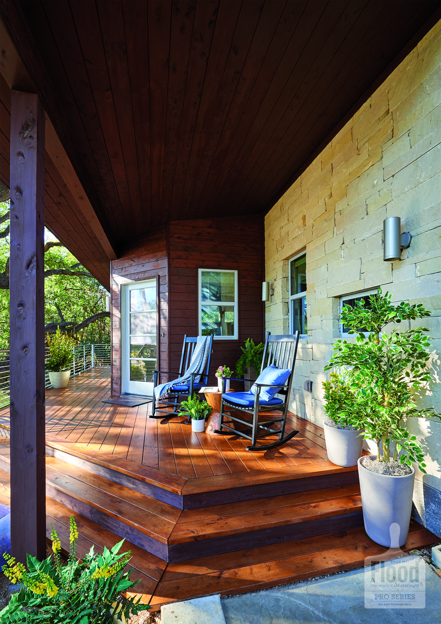 Consider Opening Up Your Front Porch With Wraparound Stairs Add A Warm Wood Finish To Make It Even More Inviting The Finish Shown Wood Finish Warm Wood Patio
