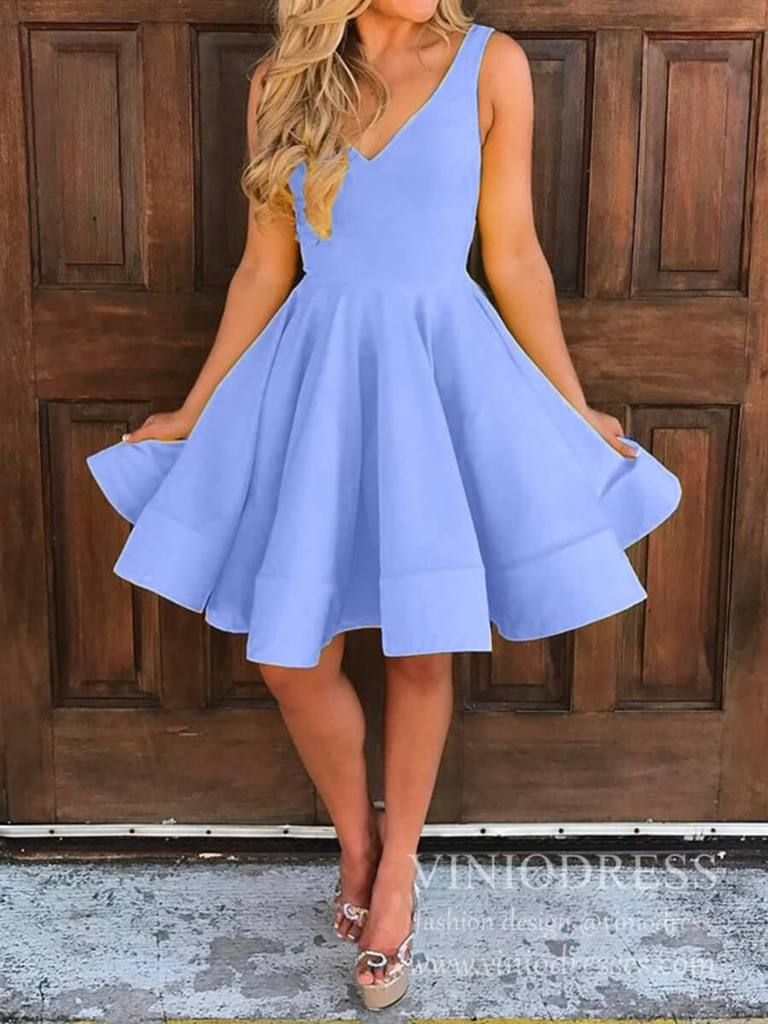 Knee Length Yellow Graduation Dresses for Teens V Neck Hoco Dress SD1273 - Dresses for teens, Hoco dresses, Simple homecoming dresses, Prom dresses with pockets, Homecoming dresses, Graduation dress - Simple and modest Aline short prom dresses for teens  Vneck homecoming dresses  Builtin Bra  Zipper closure on the back