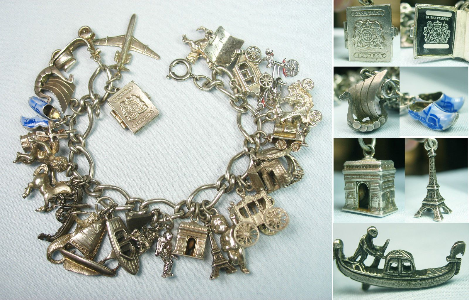 made from vintage vacation charm bracelet Upcycled Recycled Travel Vintage Jewelry Unique Handmade Silver World Traveler Charm Bracelet