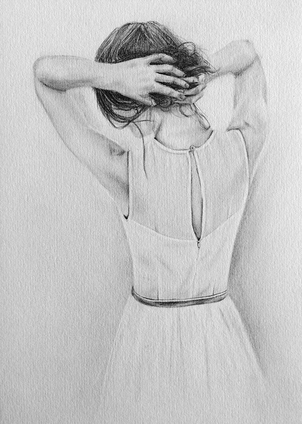 Pencil Drawing Of Lonely Girl