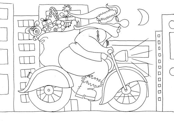 motorcycle santa christmas coloring pages for adults by chubbyart