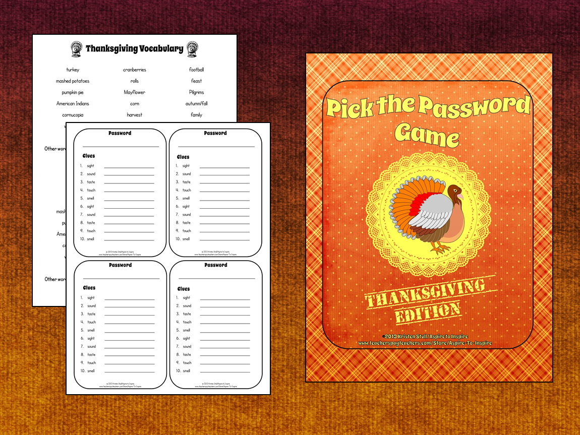 FREEBIE Pick the Thanksgiving Password Game Sensory