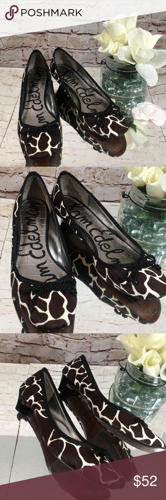 107c119d0a 🐾Sam Edelman Hope Animal Print Cowhide Heel Flats Low heel pumps made of cow  hair