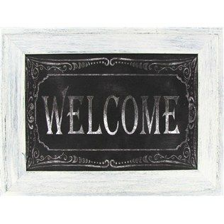 Perfect for adorning an entryway, this Black & White Welcome Chalkboard Framed Art has the appearance of hand-written chalk with a decorative border. Written in all capital letters, the chalkboard piece is enclosed by a white washed MDF frame.