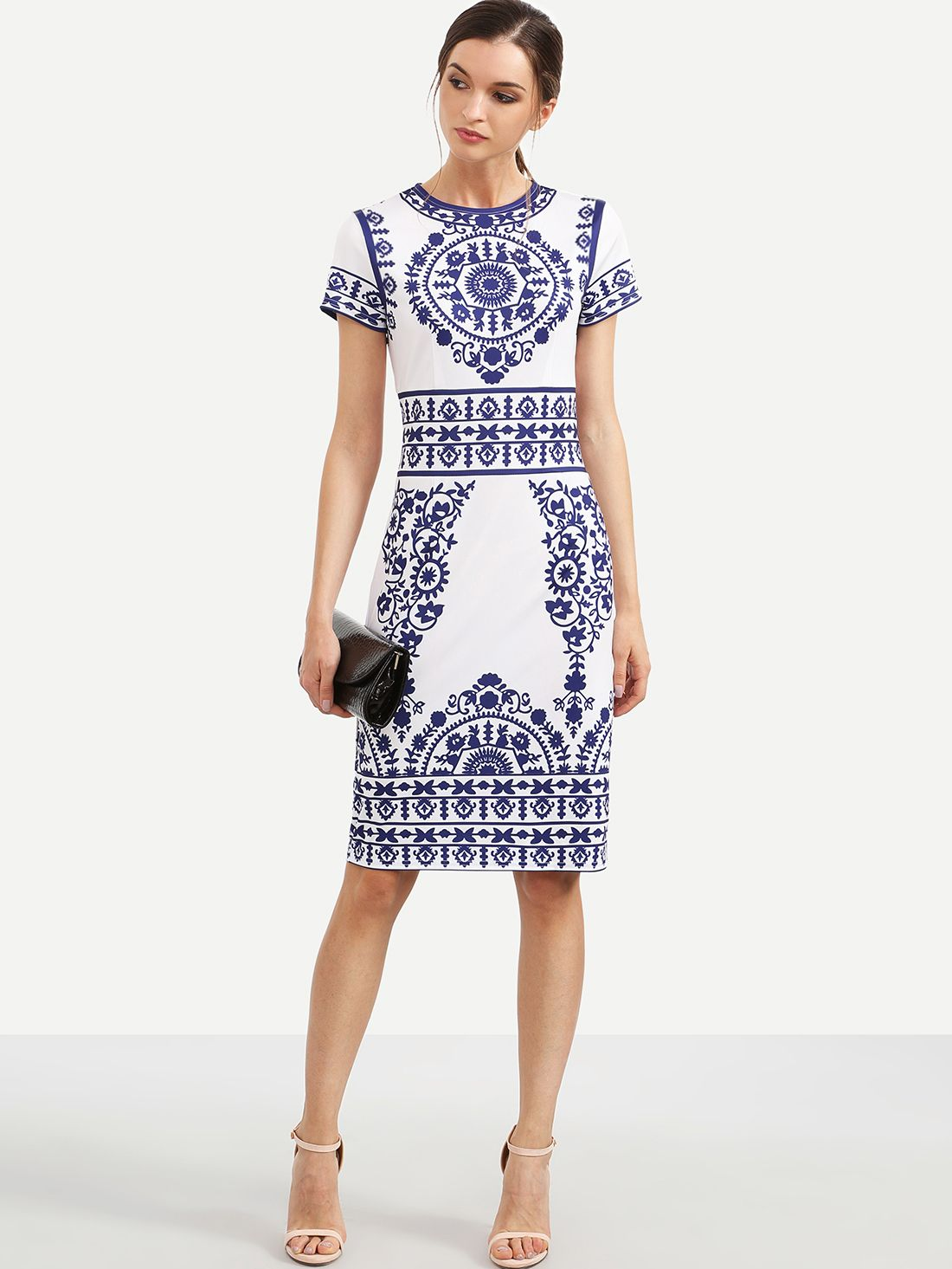 Robe fourreau imprimé manche courte - bleu blanc