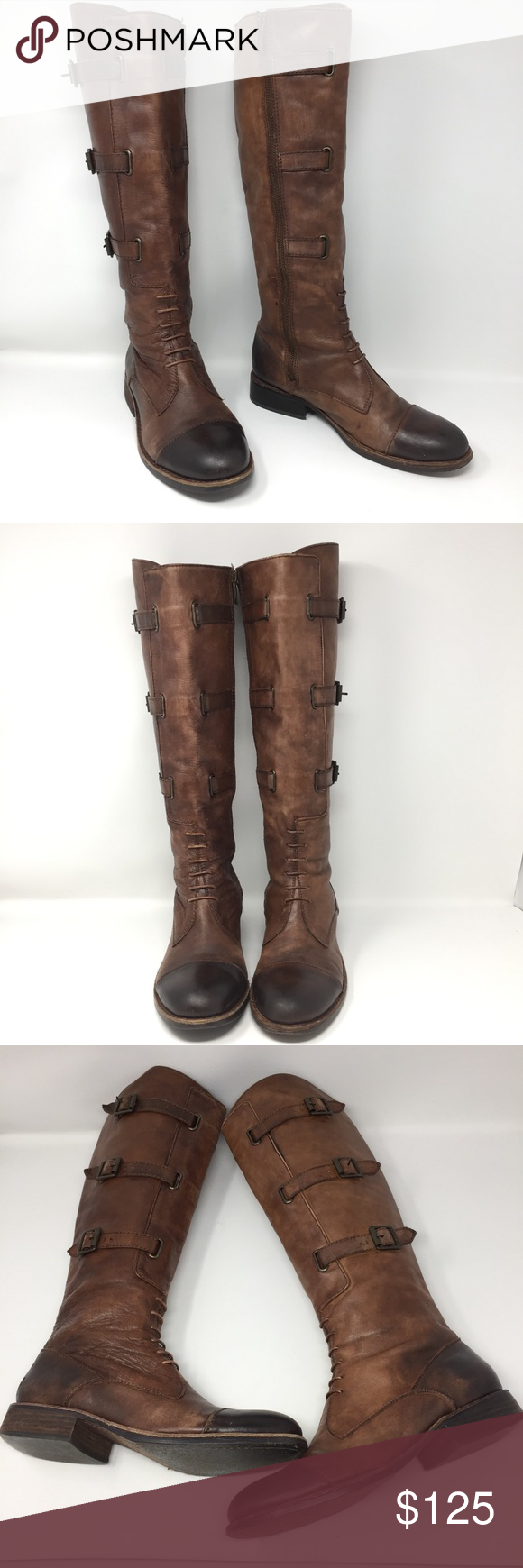 vintage vince camuto knee high boots sz 10 12 lined in gold leather gorgeous 4 heels
