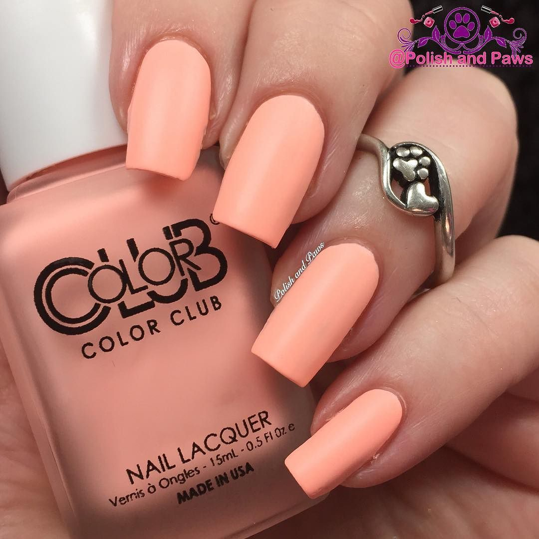 This is @colorclubnaillacquer School Yard Crush a neon peach matte ...